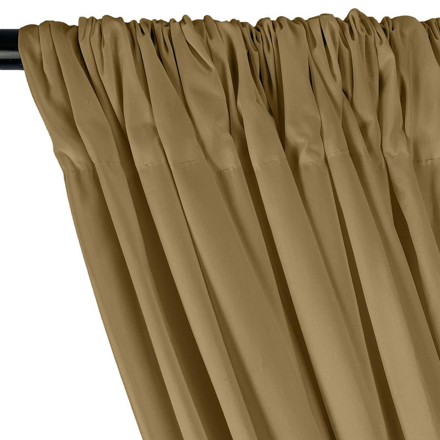Stretch Broadcloth Rod Pocket Curtains - Khaki