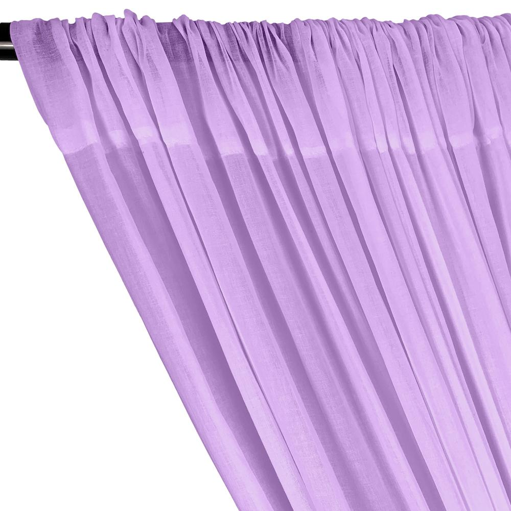 Cotton Voile Rod Pocket Curtains - Lavender