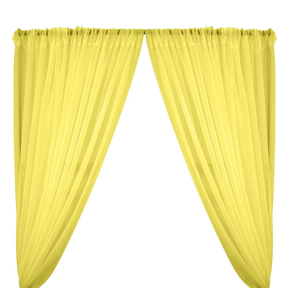 Sheer Voile Rod Pocket Curtains - Lemon