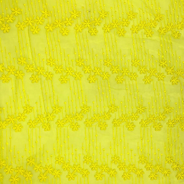 Lemon Flower Embroidery on Voile