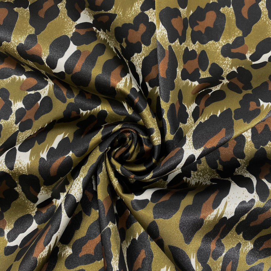 Leopard Print Poly Charmeuse