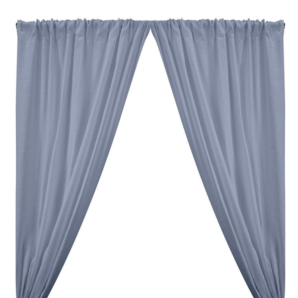 Natural Linen Rod Pocket Curtains - Light Blue