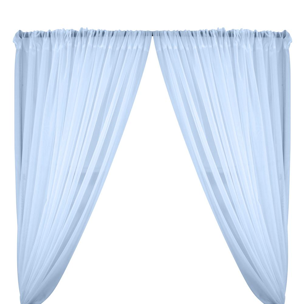 Sheer Voile Rod Pocket Curtains - Light Blue
