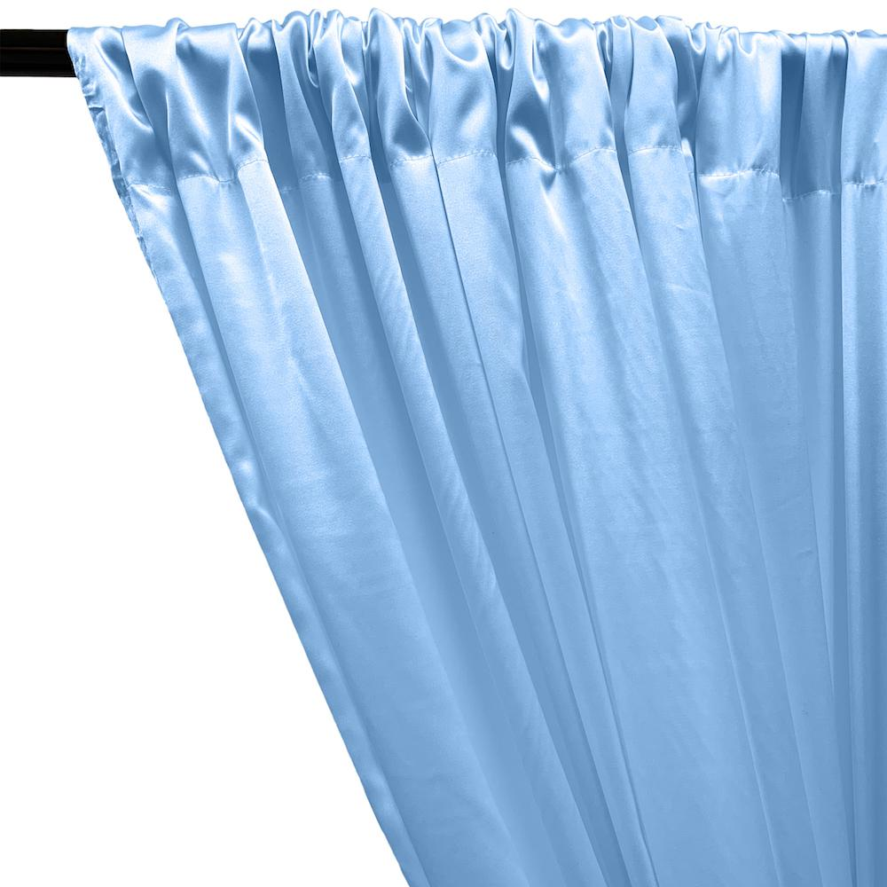 Stretch Charmeuse Satin Rod Pocket Curtains - Light Blue
