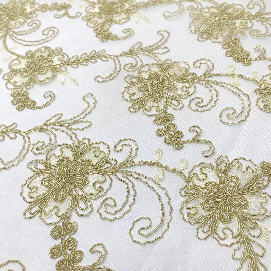 Light Gold Bridal Corded Lace on Mesh