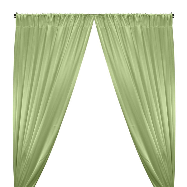 Crepe Back Satin Rod Pocket Curtains - Light Lime Green