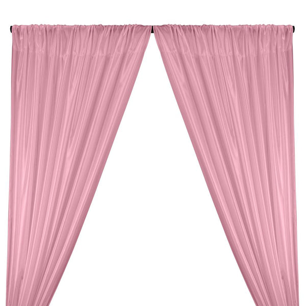 Poly China Silk Lining Rod Pocket Curtains - Light Pink