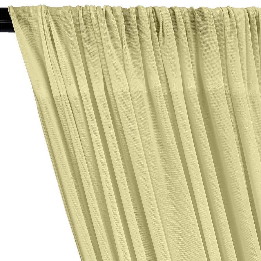 Power Mesh Rod Pocket Curtains - Light Yellow