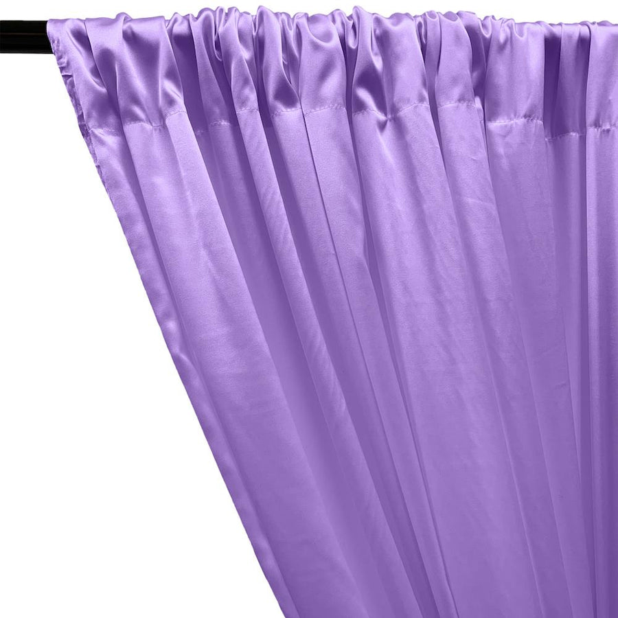 Stretch Charmeuse Satin Rod Pocket Curtains - Lilac