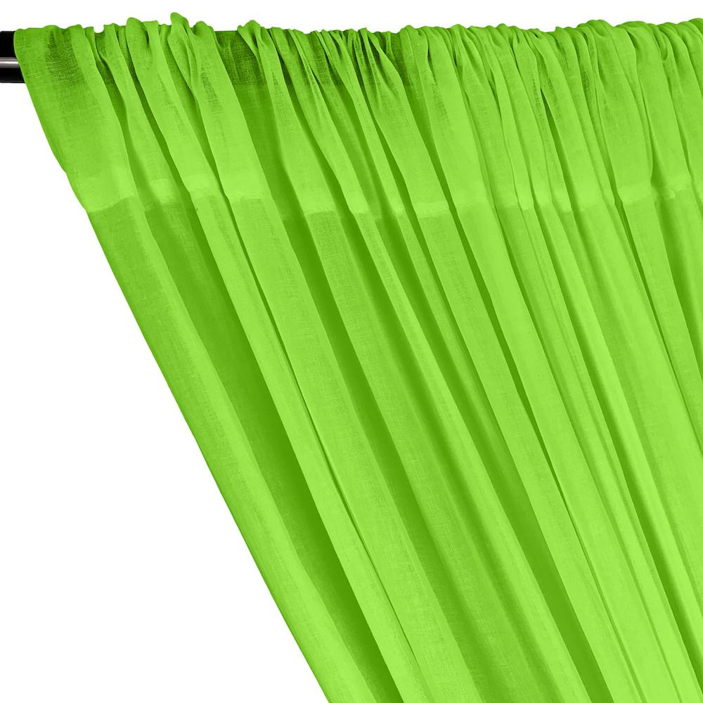 Cotton Voile Rod Pocket Curtains - Lime Green