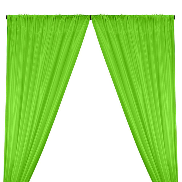 Poly China Silk Lining Rod Pocket Curtains - Lime Green