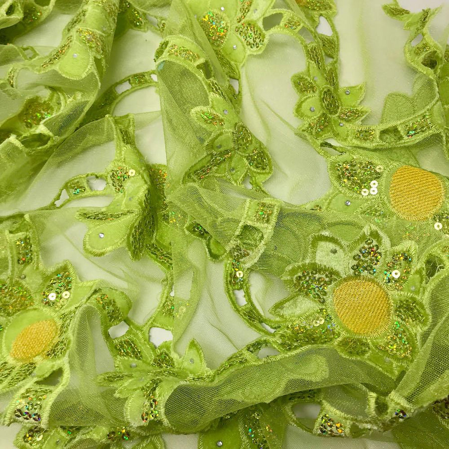 Lime Green Sunflower Corded Sequins Lace on Mesh