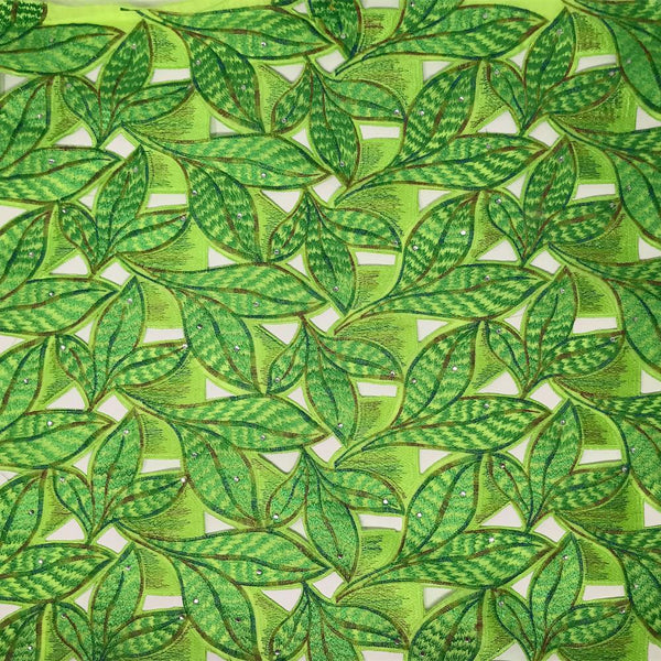 Lime Green Tiger Leaf Lace on Organza