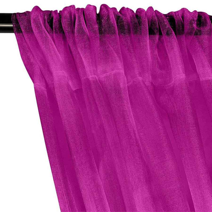 Crystal Organza Rod Pocket Curtains - Magenta