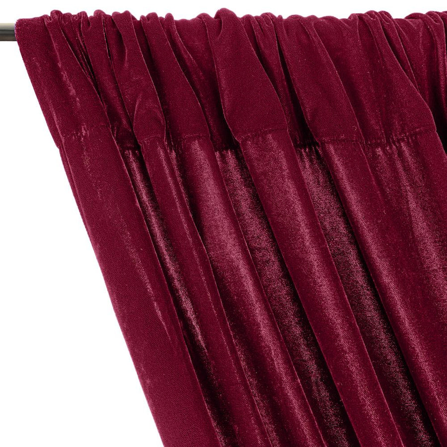 Micro Velvet Rod Pocket Curtains - Magenta