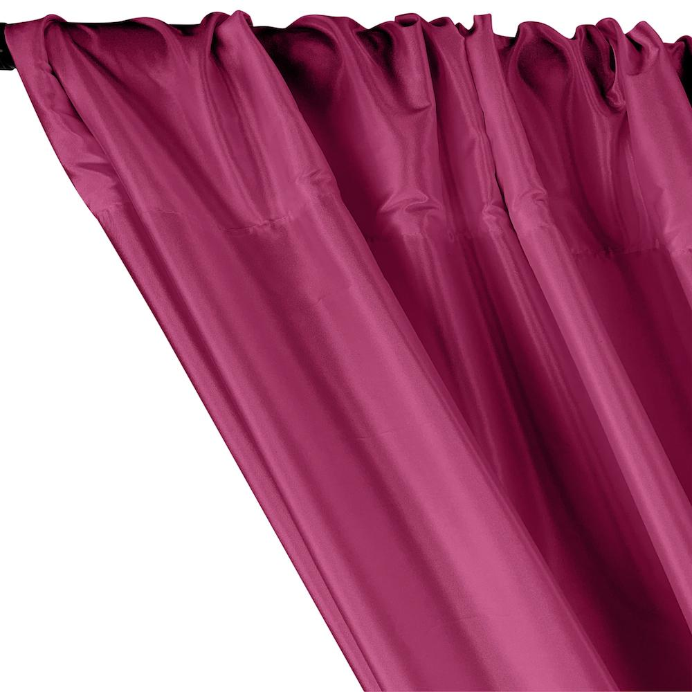 Polyester Taffeta Lining Rod Pocket Curtains - Magenta