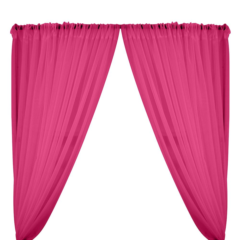 Sheer Voile Rod Pocket Curtains - Magenta