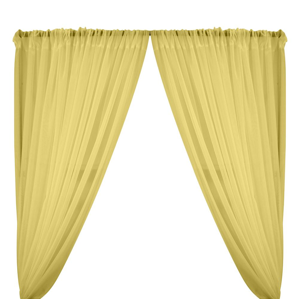 Sheer Voile Rod Pocket Curtains - Maize