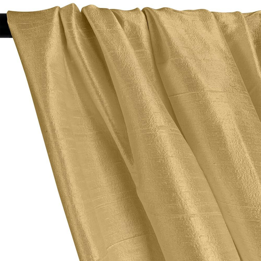 "Silk Dupioni (54"") Rod Pocket Curtains -  Metallic Gold"
