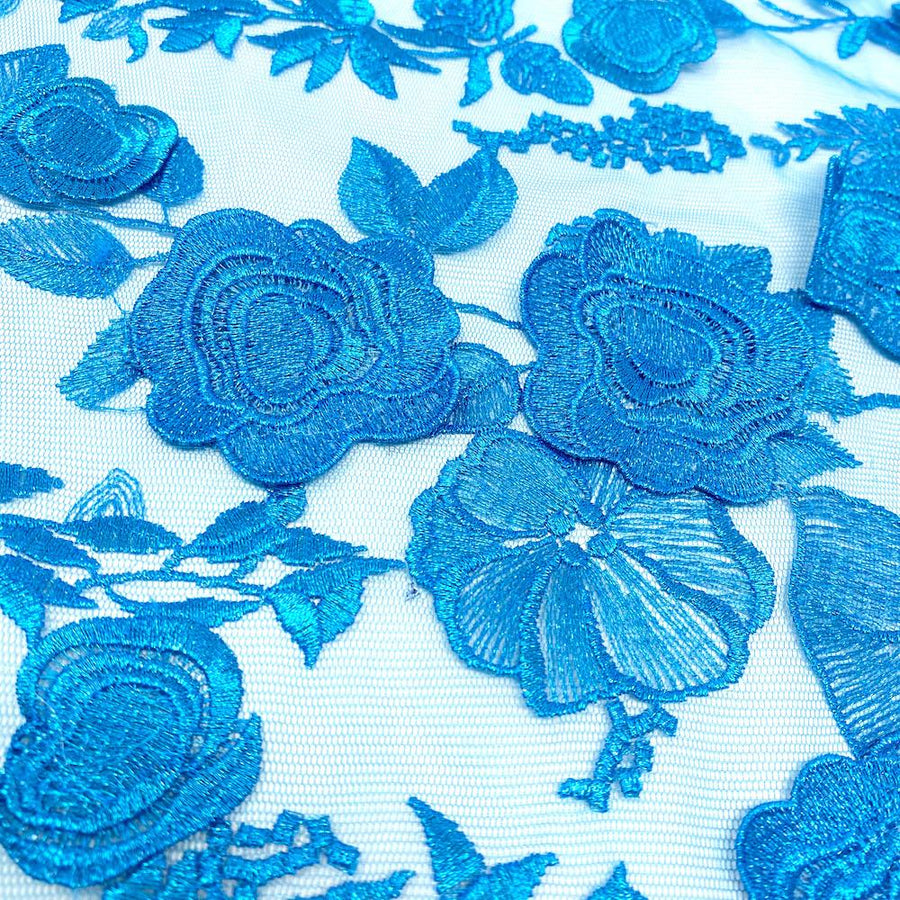 Metallic Turquoise Floral Embroidered on Tulle