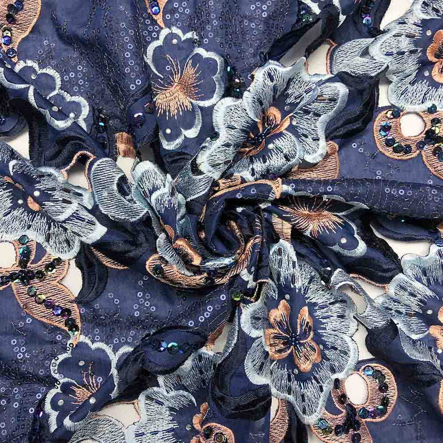 Midnight Blue Floral Embroidery Lace on Organza