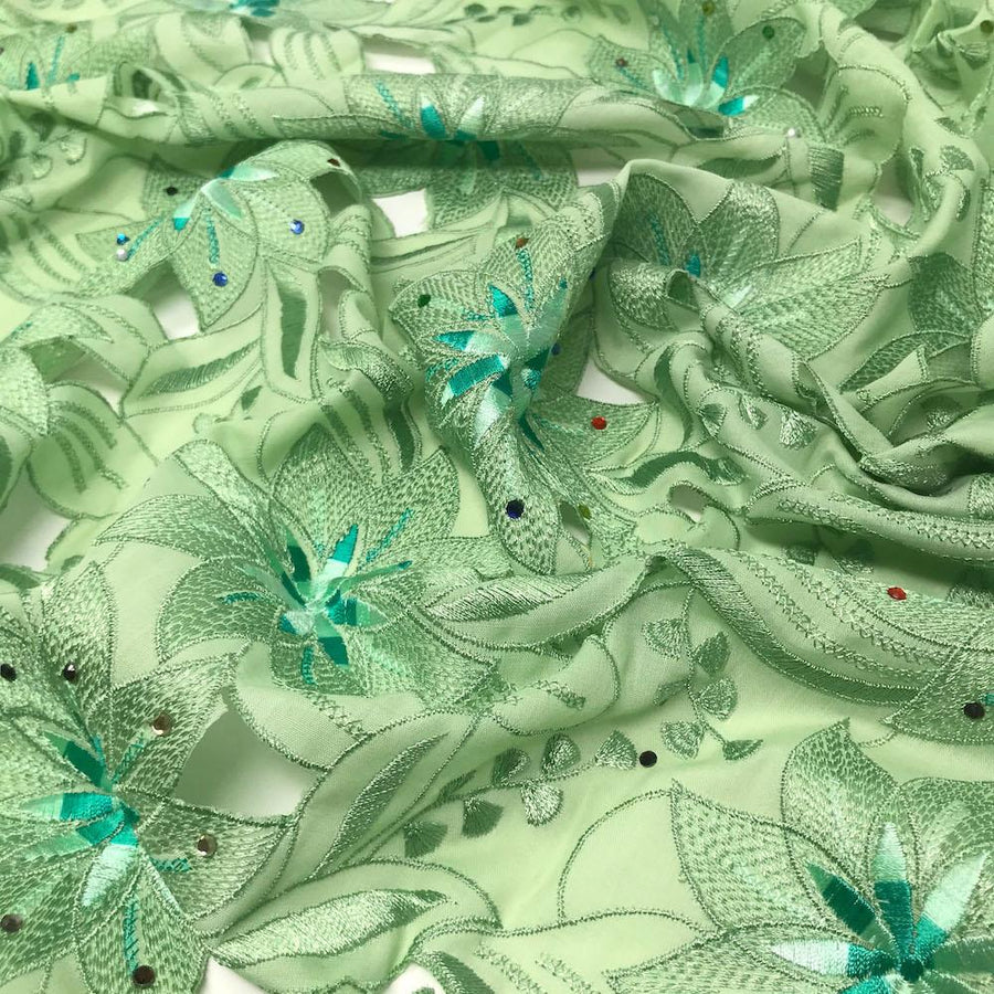 Mint Lily Rhinestone Embroidery Lace