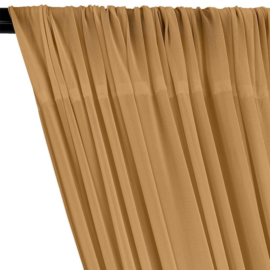 Power Mesh Rod Pocket Curtains - Mist Gold