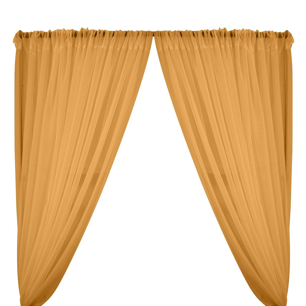 Sheer Voile Rod Pocket Curtains - Mist Gold