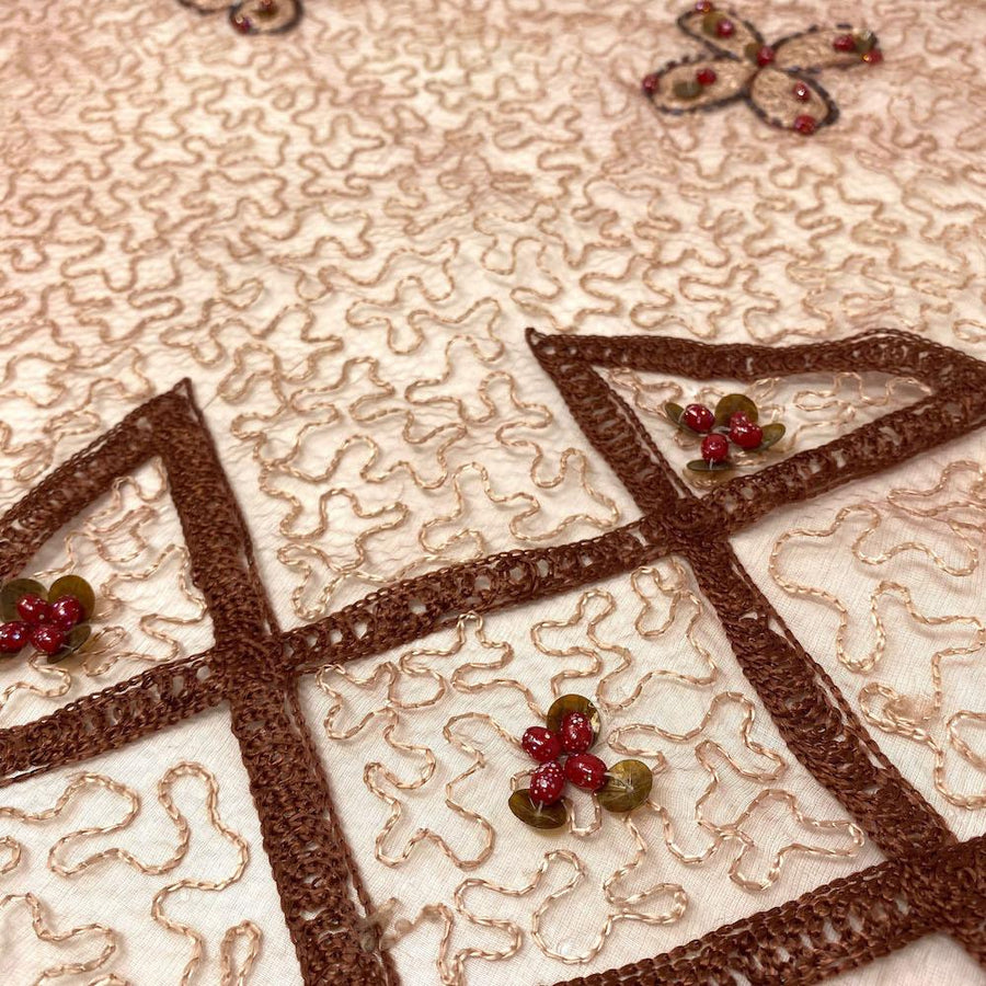 Mocha Abstract Embroidery Symbol on Crushed Organza