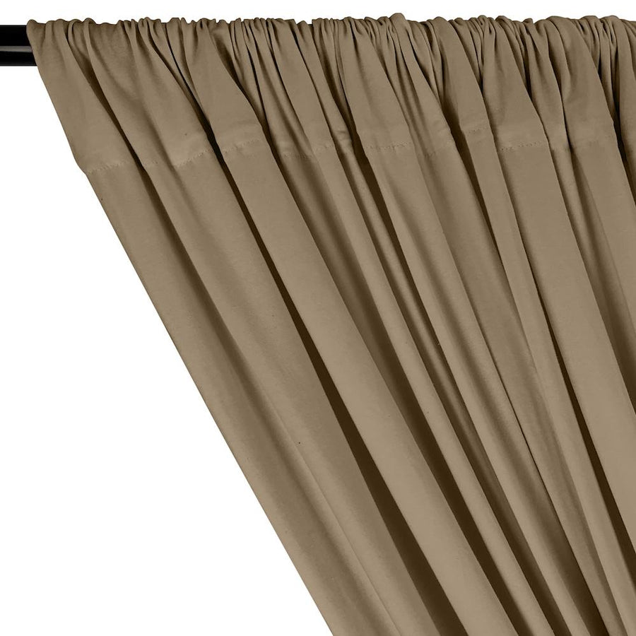 Cotton Jersey Rod Pocket Curtains - Mocha
