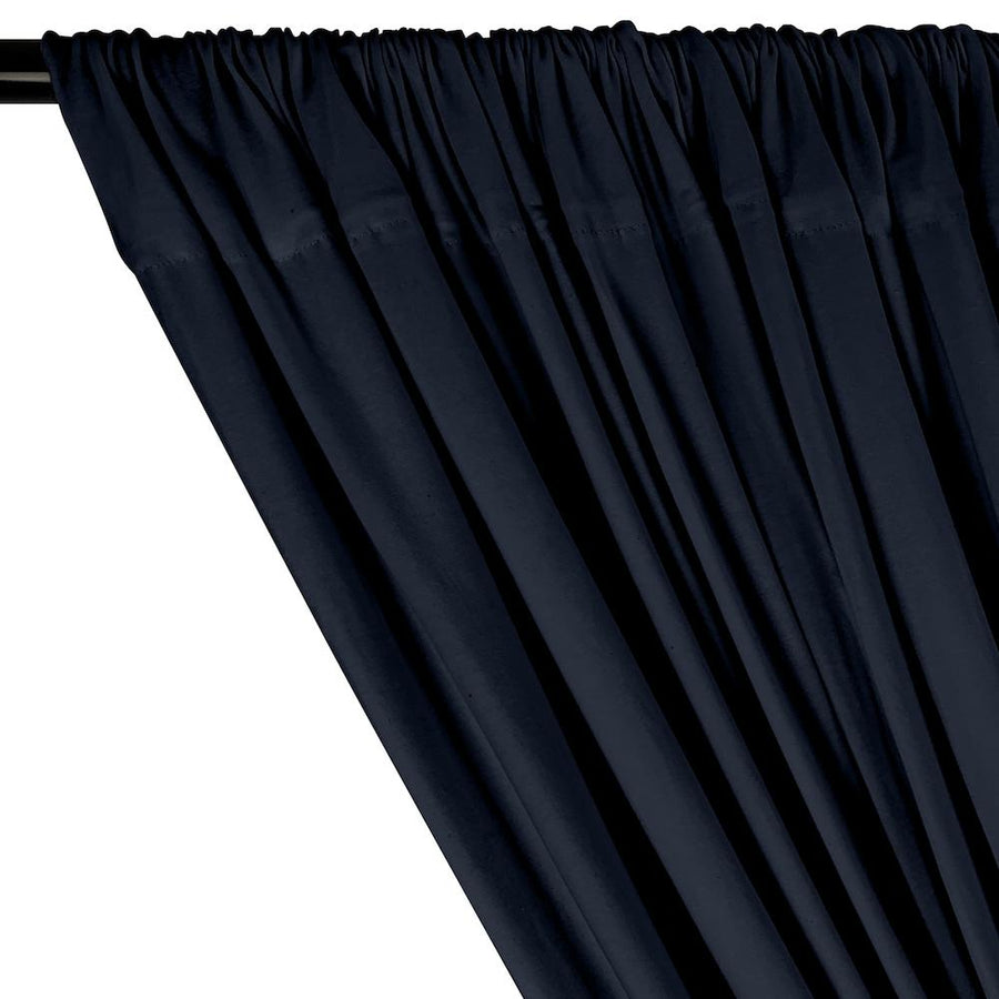 Cotton Jersey Rod Pocket Curtains - Navy