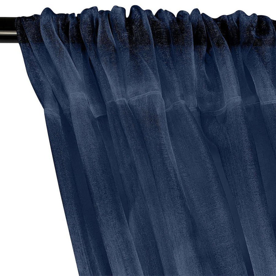 Crystal Organza Rod Pocket Curtains - Navy Blue