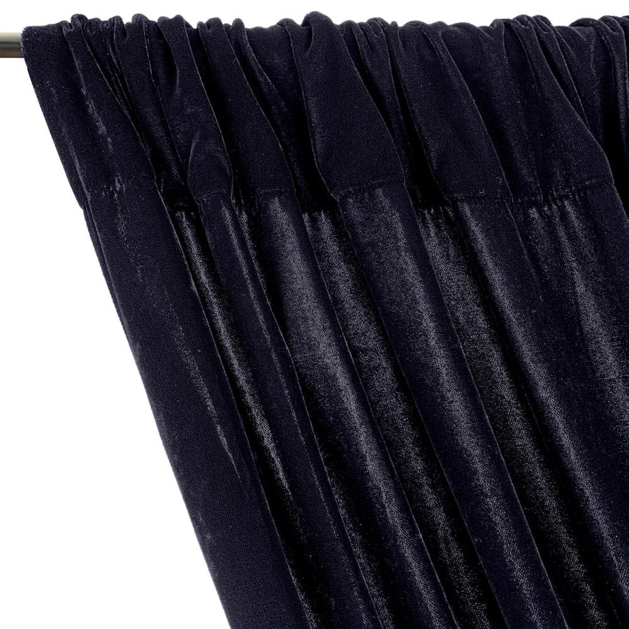 Micro Velvet Rod Pocket Curtains - Navy Blue