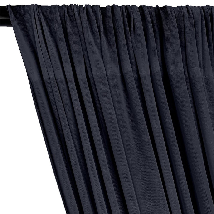 Power Mesh Rod Pocket Curtains - Navy Blue
