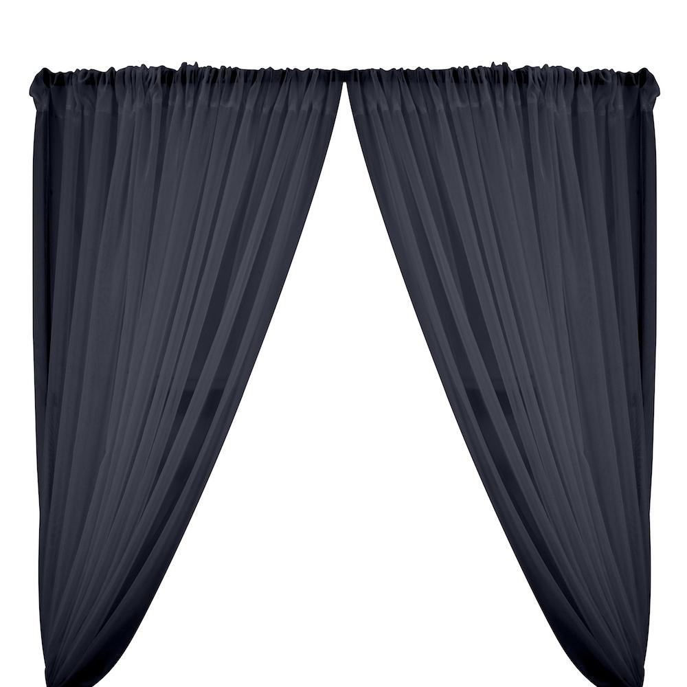 Sheer Voile Rod Pocket Curtains - Navy Blue