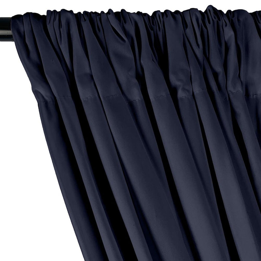 Stretch Broadcloth Rod Pocket Curtains - Navy Blue