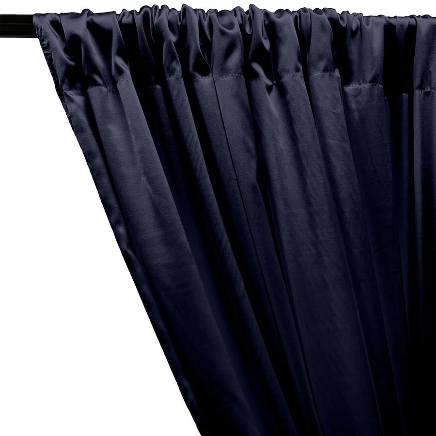 Stretch Charmeuse Satin Rod Pocket Curtains - Navy Blue