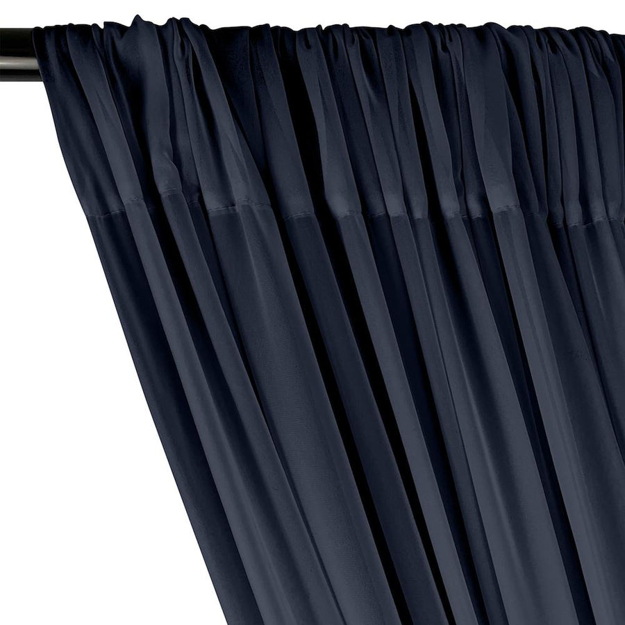 Polyester Chiffon Rod Pocket Curtains - Navy Blue