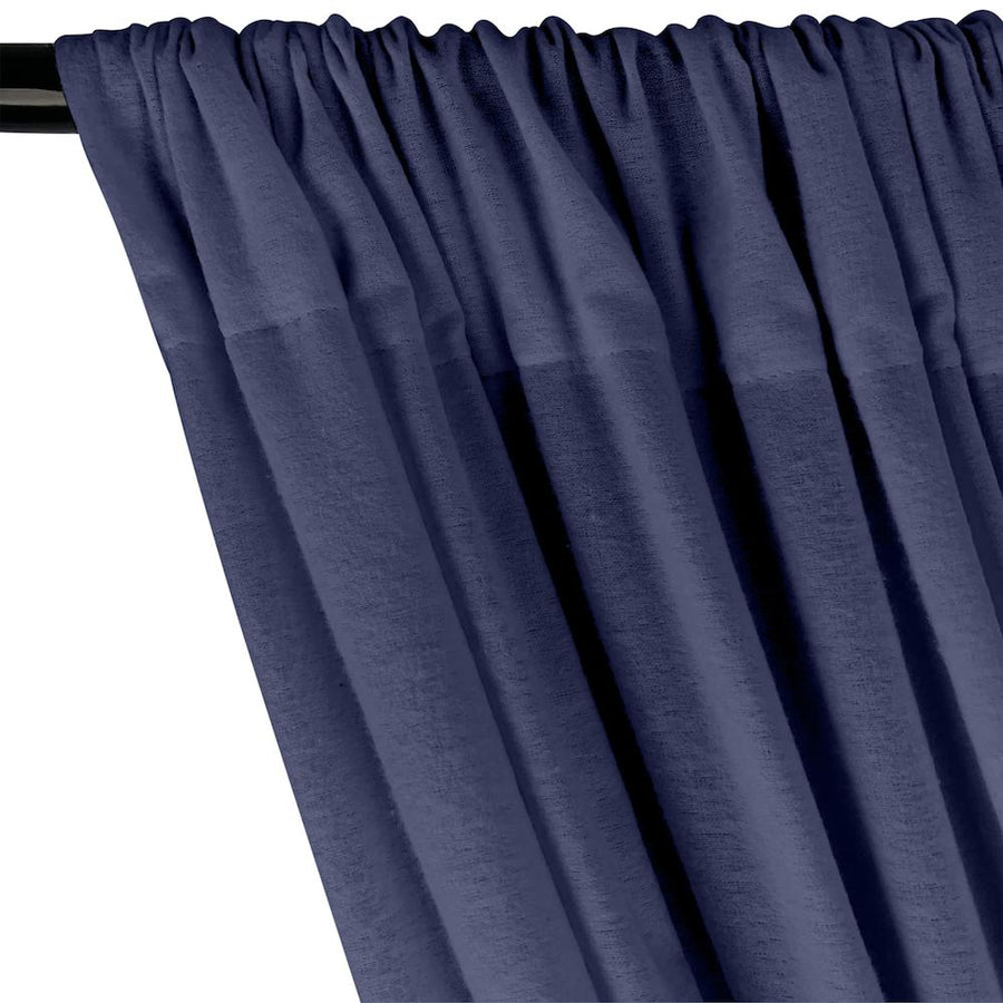 Cotton Flannel Rod Pocket Curtains - Navy Blue