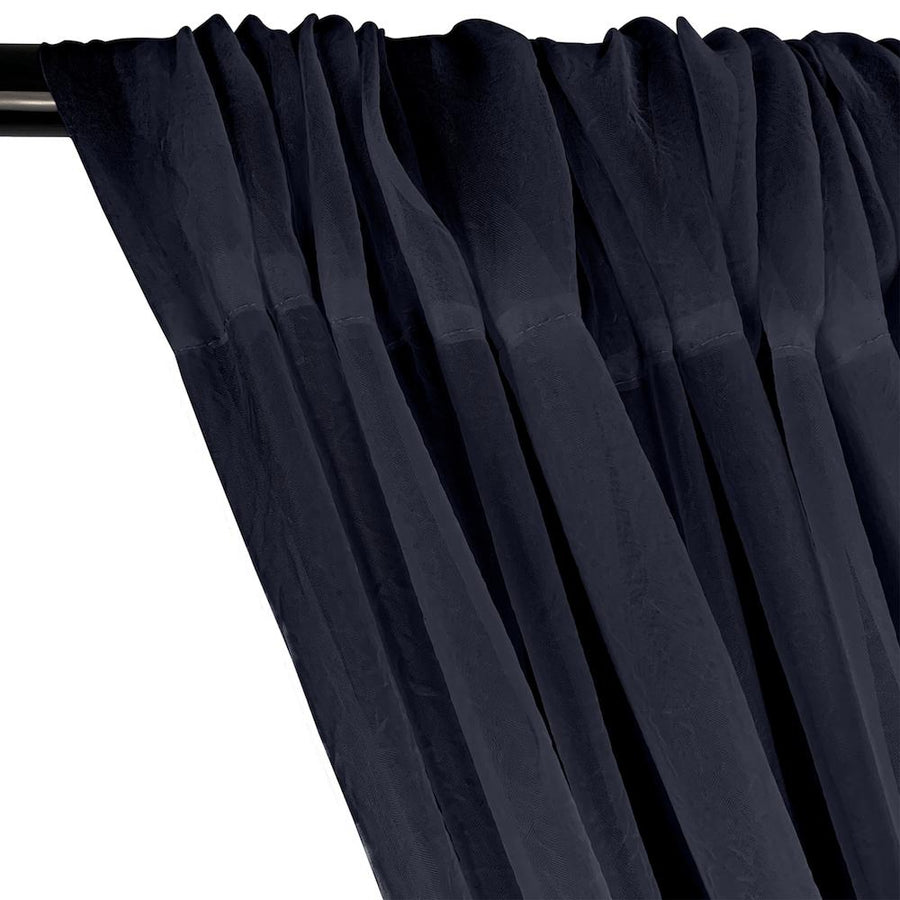 Crushed Sheer Voile Rod Pocket Curtains - Navy Blue
