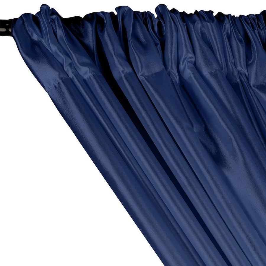 Extra Wide Nylon Taffeta Rod Pocket Curtains - Navy Blue