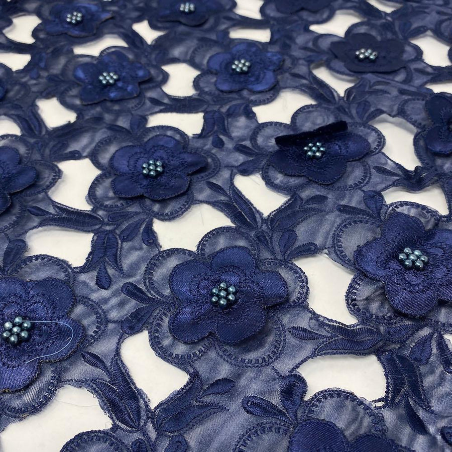 Navy Floral Embroidery on Navy Organza Lace