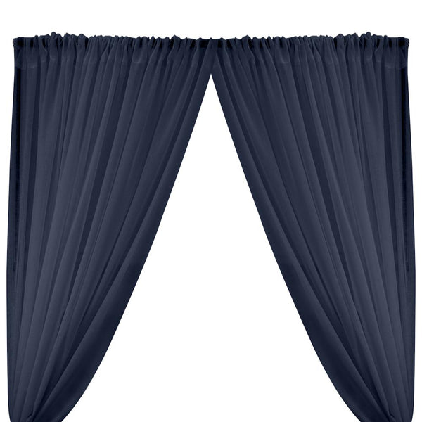 Gasa Sheer Voile Rod Pocket Curtains - Navy Blue