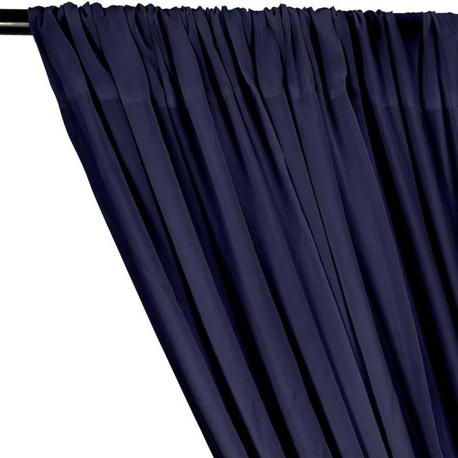 Rayon Challis Rod Pocket Curtains - Navy