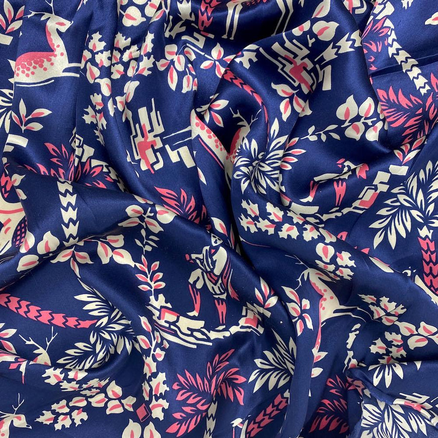 Navy Sahara Printed Silk