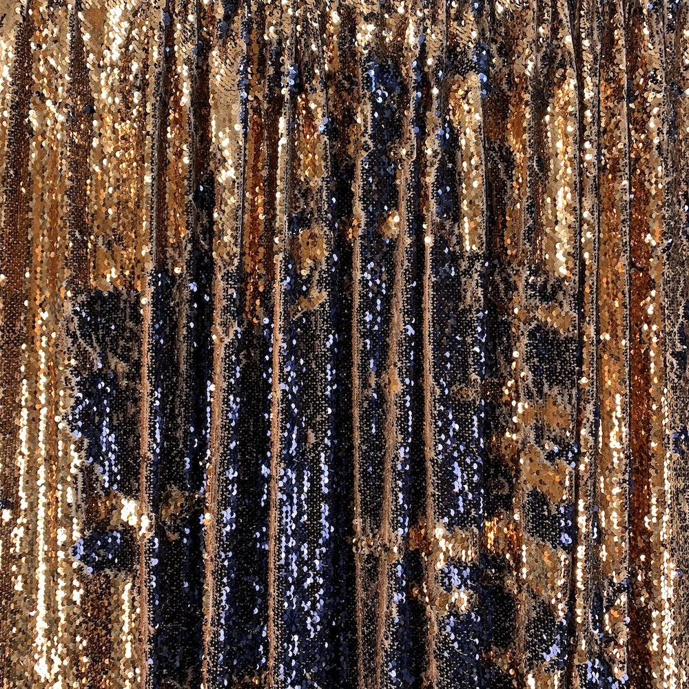 Two-Sided Reversible Sequins Rod Pocket Curtains - Navy / Champagne