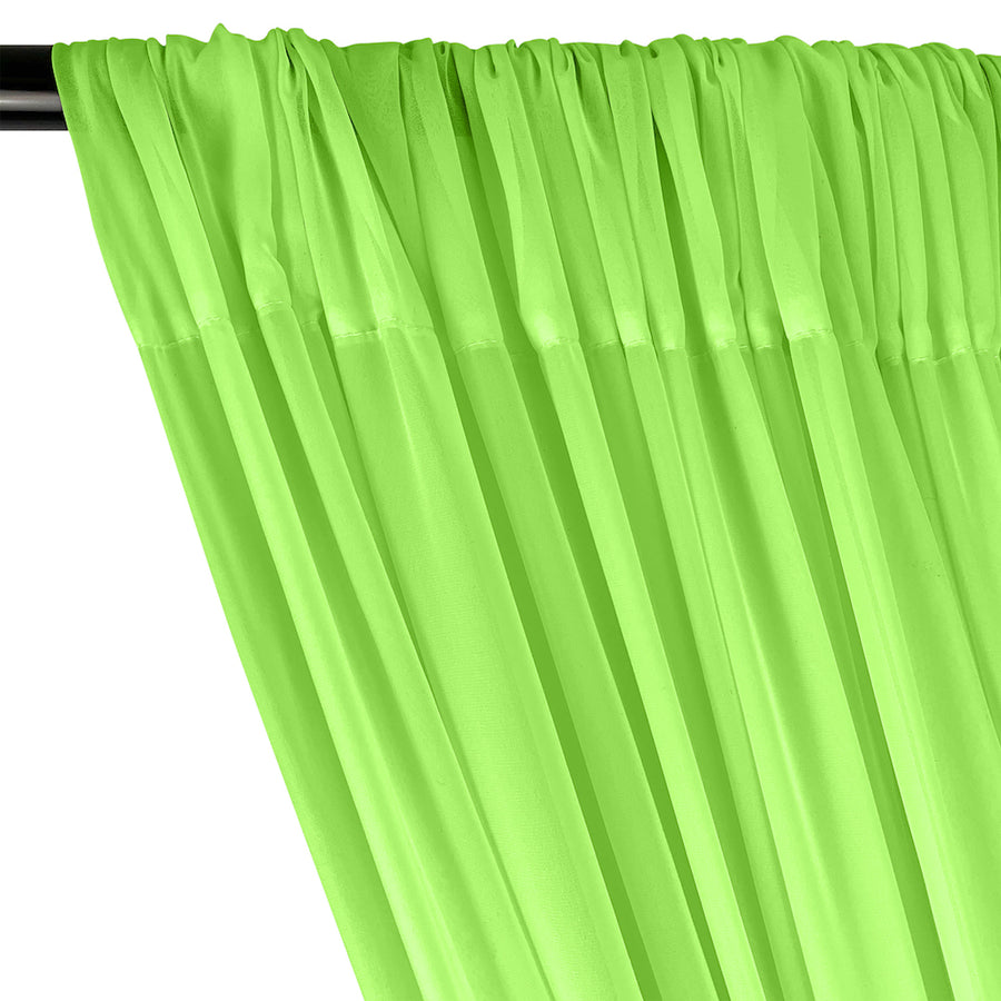 Polyester Chiffon Rod Pocket Curtains - Neon Green