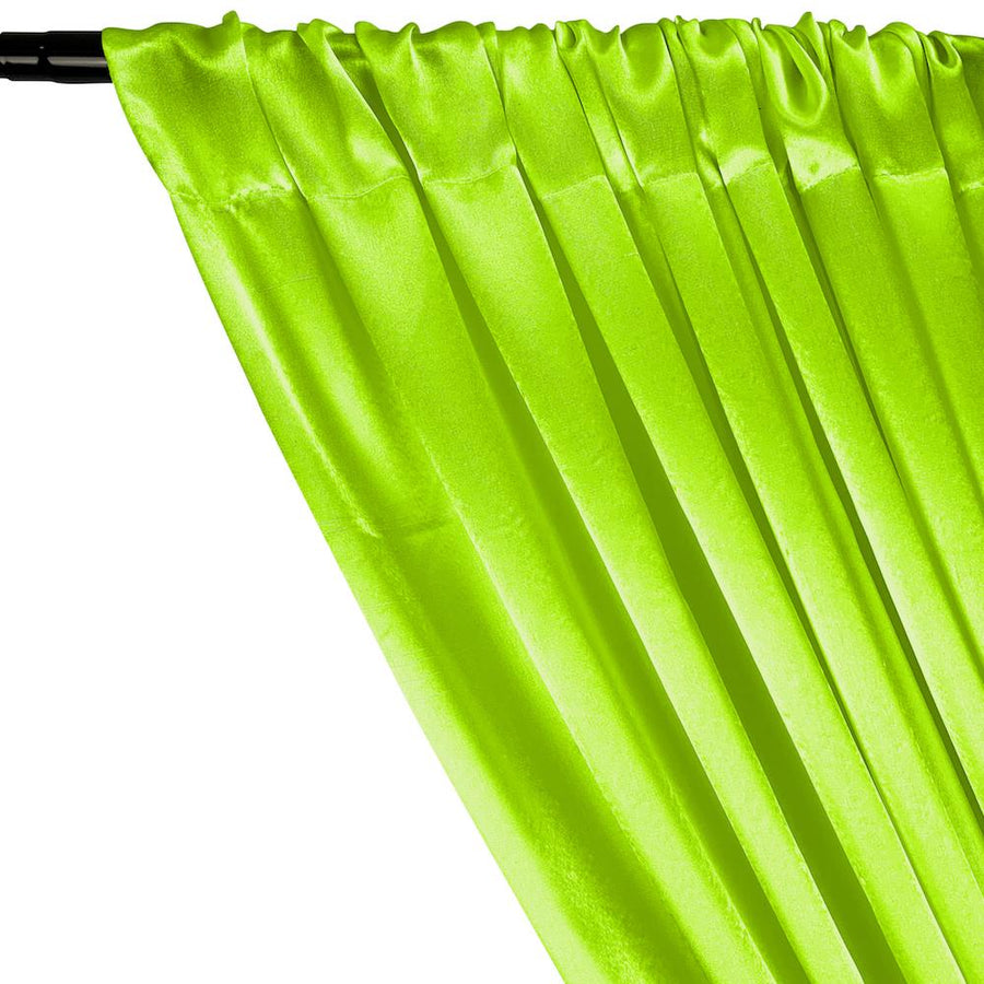 Crepe Back Satin Rod Pocket Curtains - Neon Lime Green
