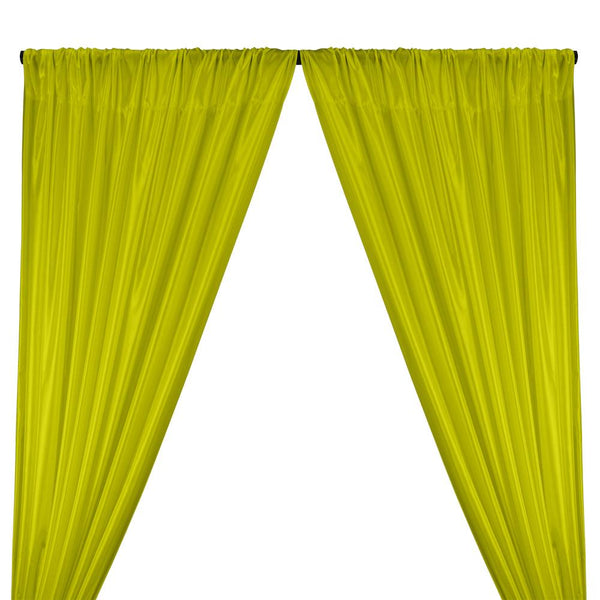 Poly China Silk Lining Rod Pocket Curtains - Neon Lime Green