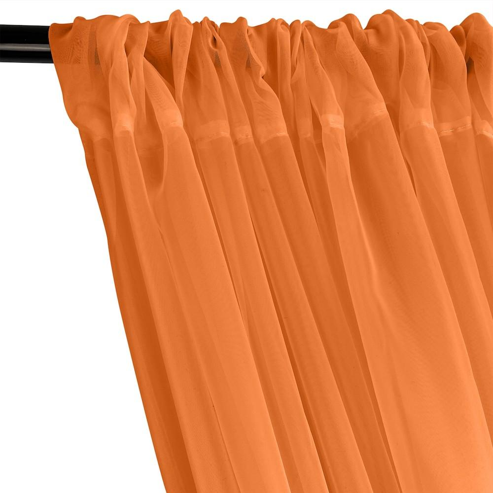 Sheer Voile Rod Pocket Curtains - Neon Orange